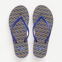 Flip-Flops:  Size  9/10  Yellow  Diamond  with  Blue  Straps  Flip-Flops  From  Natural  Life