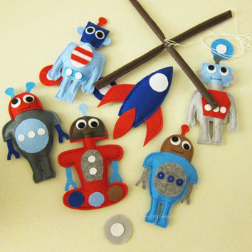 Baby Mobile - baby robots mobile - robot baby boy mobile - red and blue robot mobile - blue and grey robot nursery mobile - robot boy mobile