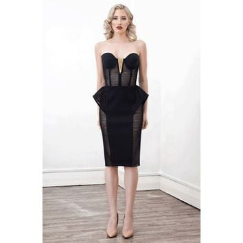 Onyx  Peplum Cocktail Dress in Black