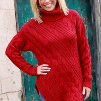 Wrapped Up In You Turtle Neck Sweater With Pointed Hem ~ Cranberry ~ Sizes 4-10