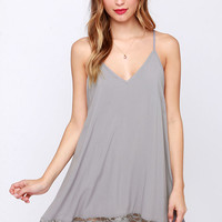 Just Getting Started Grey Lace Dress