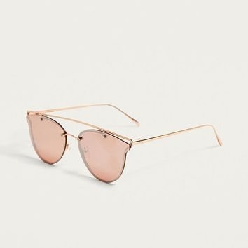 Pink Flat Long Brow Bar Sunglasses | Urban Outfitters