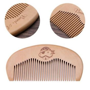New 1PC Natural Peach Wood Comb Beard Fine Tooth Head Massage Anti-static Hair