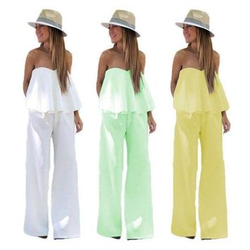 Spring Summer Women Sxey White Green Yellow Ruffles Bodycon Jumpsuits Mujer Casual Romper Party Night Club Overalls For Women