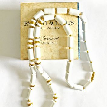 Vintage 1977 Avon Summerset White Lucite Tubular Bead Necklace with Gold Tone Spacers in Original Box