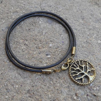 wisdom - dark brown leather wrap bracelet Tree of Life