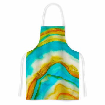 "Viviana Gonzalez ""Agate Inspired Watercolor 10"" Coral Yellow Watercolor Artistic Apron"