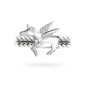 925 Sterling Silver Pegasus CZ Winged Horse Unicorn Charm Fits Pandora