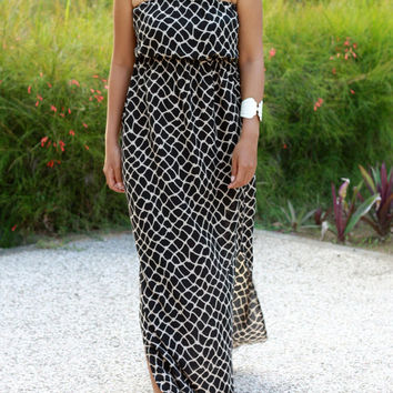 Black Maxi Dress, Womens summer dress, sundress, animal print