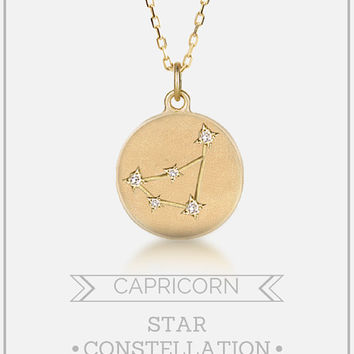 Capricorn constellation necklace, Capricorn astrology disc necklace, Capricorn star sign, Diamonds star, Unique gift, solid 14k gold,
