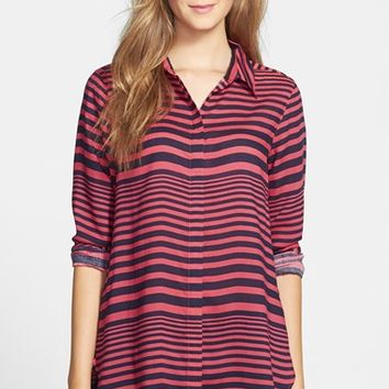Women's Foxcroft Horizontal Stripe Print Shirt