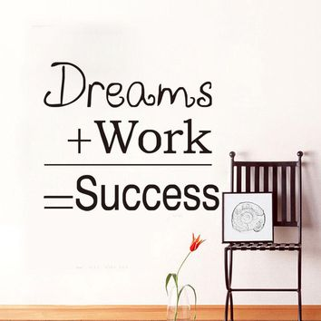 ZN G251 Dreams Work Success Quote Wall Sticker Motivational Home Room Office Wall Decal Living room wall stickers art