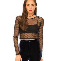Motel Bonnie Long Sleeve Crop Top in Black Heart Net