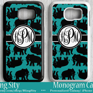 Elephants Monogram Galaxy S6 Edge S5 S4 case Note 2 3 4 S3 Case Personalized Custom Cover Blakc Turquoise Teal Lilly Inspired
