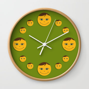 Kind smile. Green Wall Clock by ArtGenerations