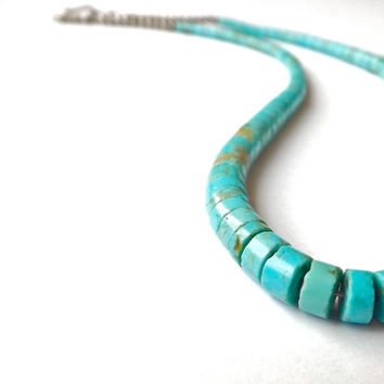 Vintage 1950's Zuni Turquoise Heishi Necklace Choker Sterling Silver Santo Domingo Turquoise Fetish Native American