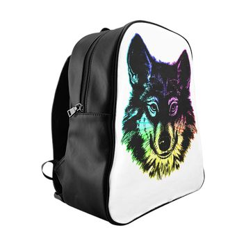 Neon Wolf School Backpack