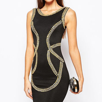 Gold Sequin Embellished Bodycon Tank Dress