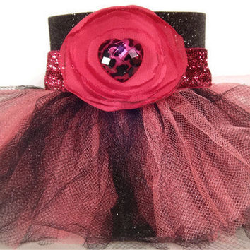 Black Glitter Tutu Koozie with Pink and Black Tutu and Pink Chiffon Flower Accent