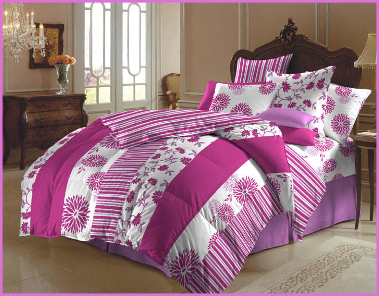 Pink Stencil-Bedding Set Of 6 Pieces,Bed From Oceanhomestore.com