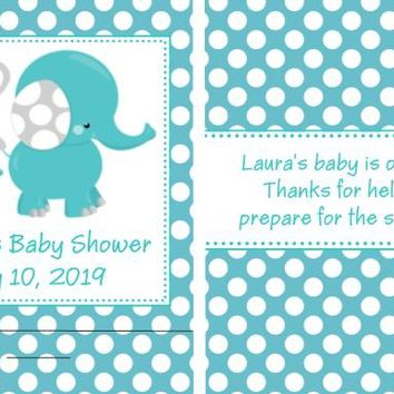 8 Blue Polka Dot Elephant Baby Shower Nail File Favors