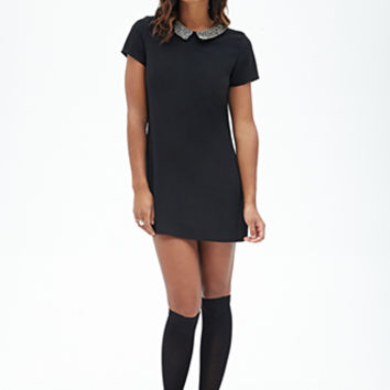FOREVER 21 Beaded Collar Shift Dress Black