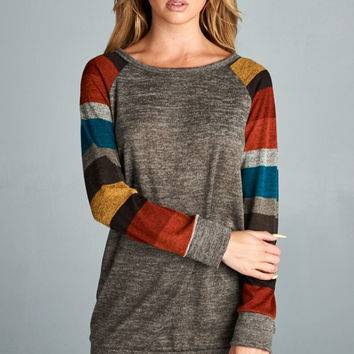Striped Sleeve Tunic - Brown