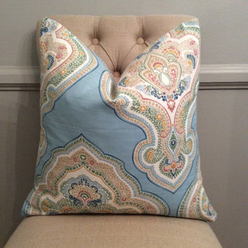 Handmade Decorative Pillow Cover - Jennifer Adams Home - Tempo Damask - Baby Blue - Paisley