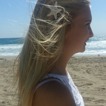 Starfish Hair Pin or Clip~Beach Hair Accessories~Mermaid~Nautical Wedding~Beach Fashion~Gift~For Her~Knobby Starfish~Seashells~Ocean