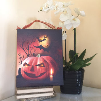 Scary Jack-O-Lantern Lighted Canvas Wall Art