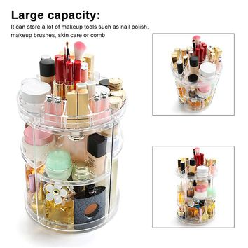 360° Rotatable Detachable Cosmetic Makeup Organizer Holder Round Storage Box