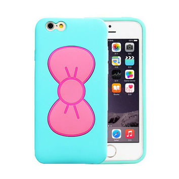 Hot Candy Color Lovely 3D Butterfly Bow Soft TPU Silicon Cover Case - iPhone 5/5S