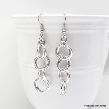 Möbius chain dangle chainmaille earrings
