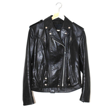 black leather motorcycle jacket 70s vintage small fitted leather moto jacket