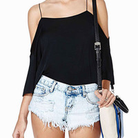 Black Strappy Off Shoulder Top