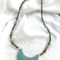 Czech glass beads and turquoise and silver pendant  necklace.