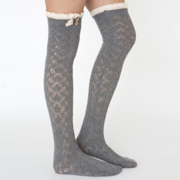Grey Lace Trim Boot Socks