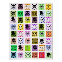 Fun Cartoon Skeleton Skulls Polka dots art Poster