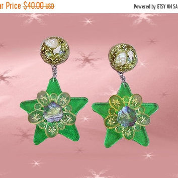 SALE Big Star Earrings - Vintage Sealife-Embedded Lucite - OOAK Retro Dangle Earrings