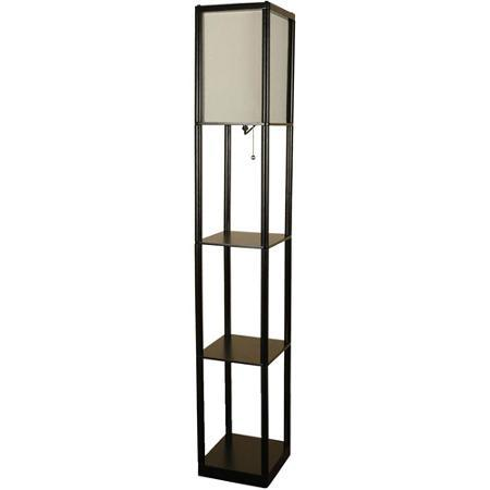Mainstays shelf floor lamp with off white from walmart room for Living cameroon uplighter floor lamp black
