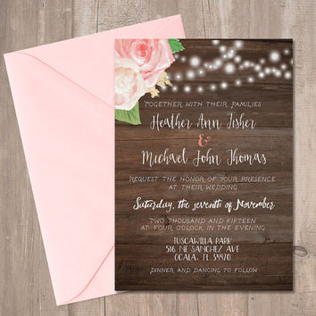 "Printable Rustic Wedding Invitation with Roses 5x7"" Digital"