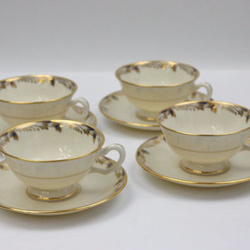 Lenox Bone China Tea Cup Set / Essex / SETS of 4 / Gumps, San Francisco