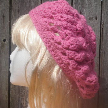 bubblegum pink happy heart slouchy hat