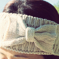 WINTER SPECIAL Knitted Bow Headband, Bow Headband, Knit Headband, Cream Knit Headband, Knit Beanie, Bow Beanie, Cute Bow Headband