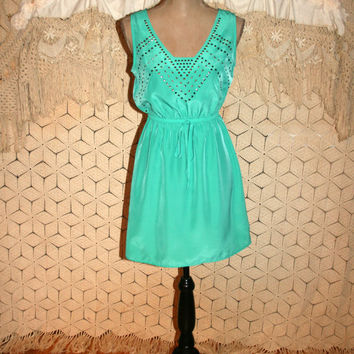 Mint Green Dress Turquoise Mini Grunge Spring Summer Sundress Edgy Studs Open Back Short Dress Sleeveless Dress Size Small Womens Clothing