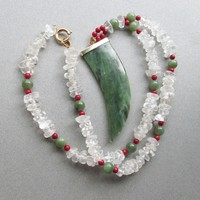 Vintage Serpentine Tooth Shaped BIG Pendant, Garnet and Rock Crystal Quartz Nugget Beaded Long Necklace