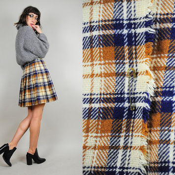 Scottish PLAID 60's tartan Schoolgirl mini SKIRT high waist Fringe Kilt pin Pleated Woven xsmall