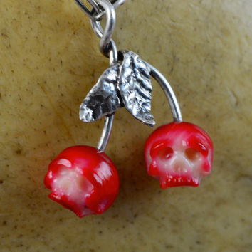 READY TO SHIP - Hand Carved Coral Skull Cherry Pendant - Hand Carved Skulls - Skull Jewelry - Coral Necklace - Cherry Pendant - Unique Gift