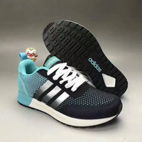 """""""Adidas NEO"""" Fashion Casual Multicolor Stripe Knit Fly Line Surface Unisex Sneakers Couple Running Shoes"""
