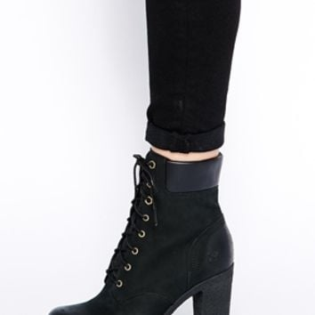 "Timberland Glancy 6"" Black Heeled Ankle Boots"